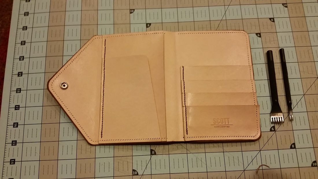 Vegetable tan leather passport wallet